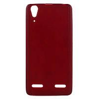 Чехол накладка для Lenovo A6000 / Lenovo K3 силиконовый IMD, Фактурный, красный