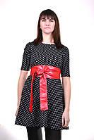Платье (чёрный+горох) с красным поясом