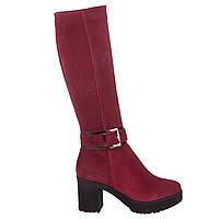 Сапоги женские Viko (бордовые, замшевые, модные, удобные, на овчине, с стильным ремешком на лодыжке)
