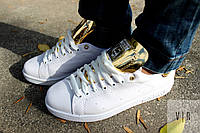 Кроссовки Adidas Stan Smith белые с золотыми вставками