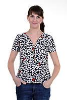 Блуза короткий рукав (белые сердца на черном)