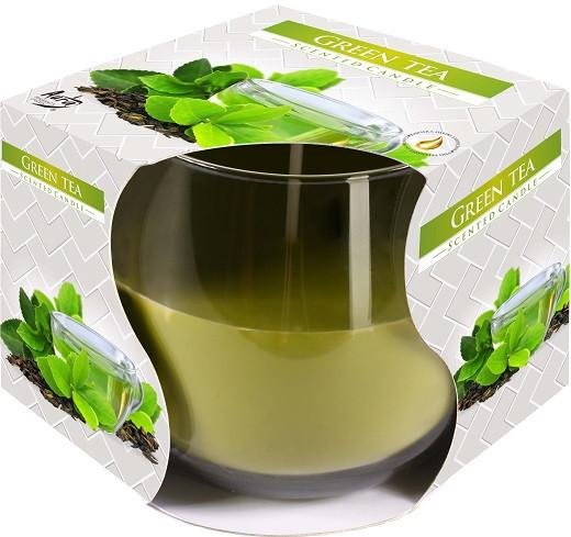 Свеча ароматическая в стекле Bispol Зеленый чай 7 см (sn71-83)