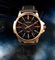 """Мужские наручные часы """"YAZOLE Classic"""" черные кварцевые"""