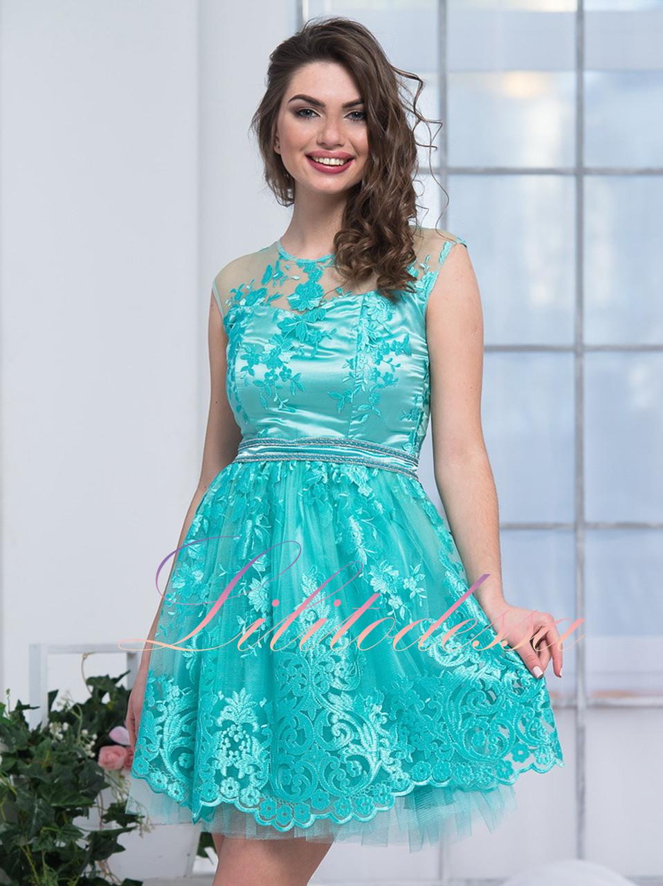 Вечернее платье с пышной юбкой Виолет мятное