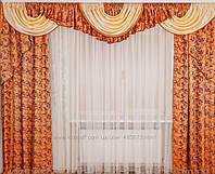 """Комплект штор и ламбрекен для зала """"Тиффани"""" на карниз от 2.5м - 3.5м  в разных цветах, фото 1"""