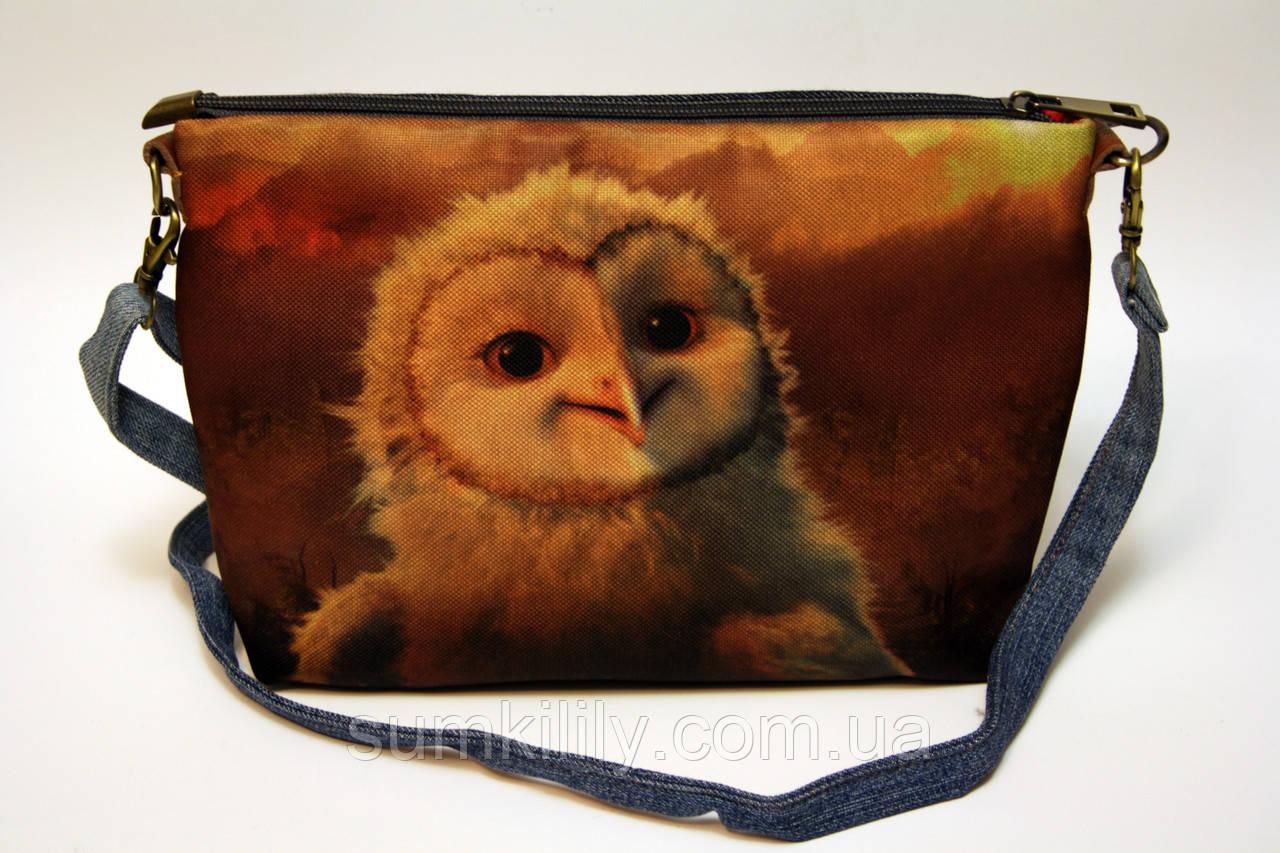 Джинсова сумочка з совою