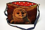 Джинсова сумочка з совою, фото 2