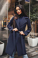 Женское демисезонное двубортное пальто с поясом