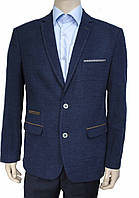 Пиджак West Fashion. Мужской. Синий. C коричневыми накладками