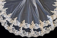 Свадебная кружевная фата с шантилье (Ф-Кд-14) белая