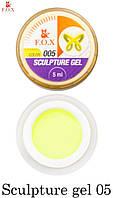 Гель-пластелин F.O.X Sculpture gel 005, 5 ml для 3D-лепки желтый-неоновый