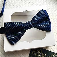"""Мужская бабочка """"Ровенна"""" в подарочной коробке. черно-голубой"""