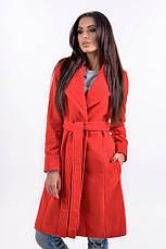 Женское пальто на запах с поясом , фото 3