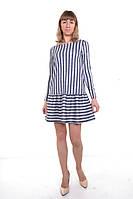 Платье (серо-синее + узкая полоска)