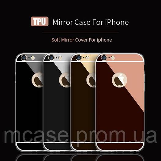 Силиконовая накладка с зеркальным напылением  для iPhone SE/5/5s