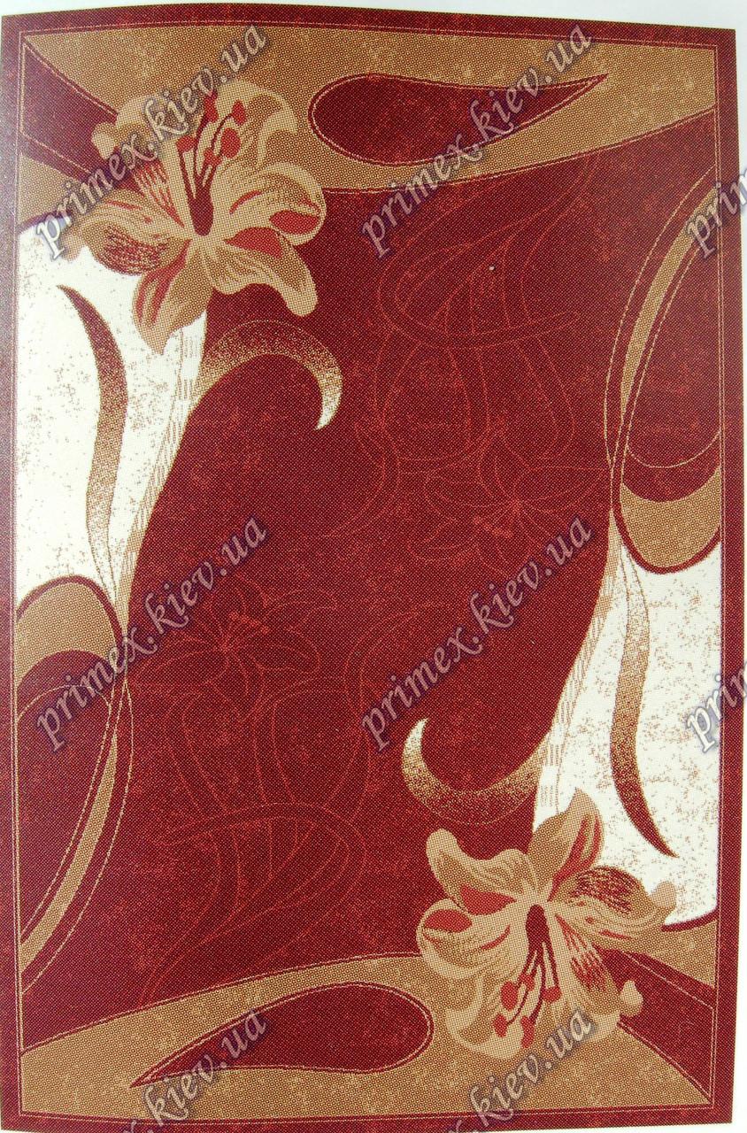 """Рельефный ковер Кадиллак """"Лилия"""", цвет красный"""