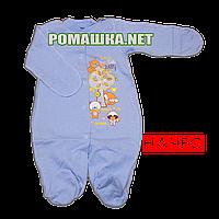 Человечек для новорожденного р. 56 с начесом ткань ФУТЕР 100% хлопок ТМ Виктория 3238 Голубой