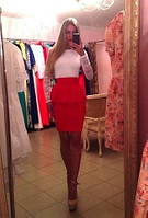"""Молодежное платье """" Франц """" с белым  гипюровым верхом и красной юбкой. Арт-8758/74"""