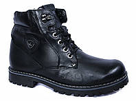 """Зимние мужские ботинки """"Mida"""". Ледоходы. Натуральная шерсть. Черные"""