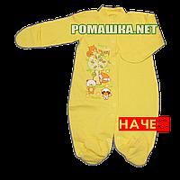 Человечек для новорожденного р. 62 с начесом ткань ФУТЕР 100% хлопок ТМ Виктория 3238 Желтый