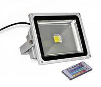 Светодиодный прожектор RGB 50 Вт, пульт в комплекте IP65 серебро Код.57386