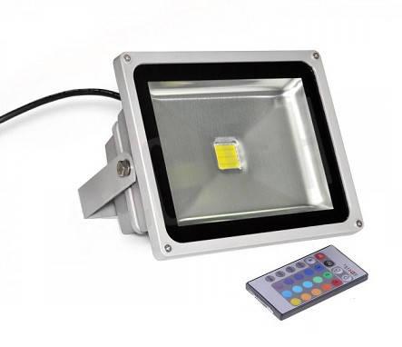 Светодиодный прожектор RGB 50 Вт, пульт в комплекте IP65 серебро Код.57386, фото 2