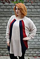 Туника большого размера Реглан, теплая туника для полных, одежда больших размеров