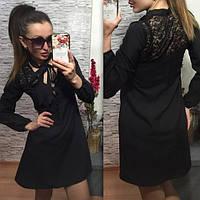 """Классное черное платье"""" Вечеринка"""" с дорогим гипюром. Арт-8759/74"""