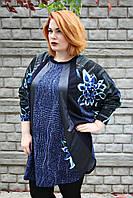 Туника большого размера  Мишель цветы (2цв), туника для полных женщин, женская одежда больших размеров