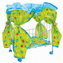 Кроватка для кукол 9350 / 015 с балдахином на колесиках