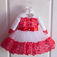 Великолепное нарядное платье на девочку с бантиками юбка пышная с кружевной отделкой