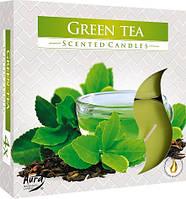 Свечи  ароматические большие зеленый чай 4 шт. уценка