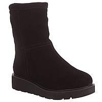 Ботинки женские Monroe (черные, замшевые, на низком ходу, теплые, комфортные, без застежки)