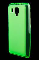 Чехол для Lenovo A238 силиконовый зеленый / прозрачный