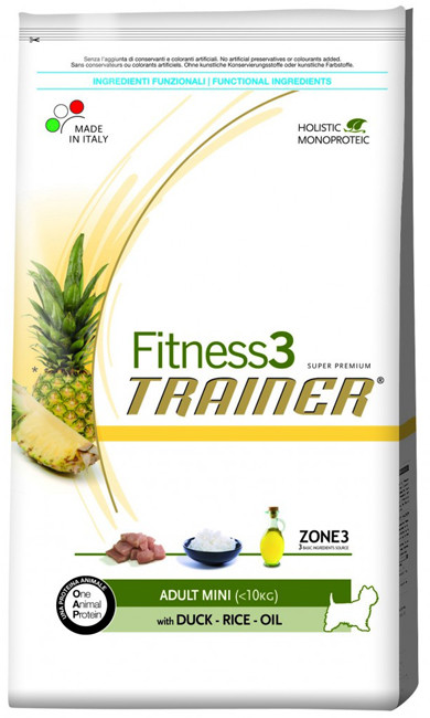 Корм для мини-собак Trainer Fitness3 Adult Mini Duck, Rice & Oil