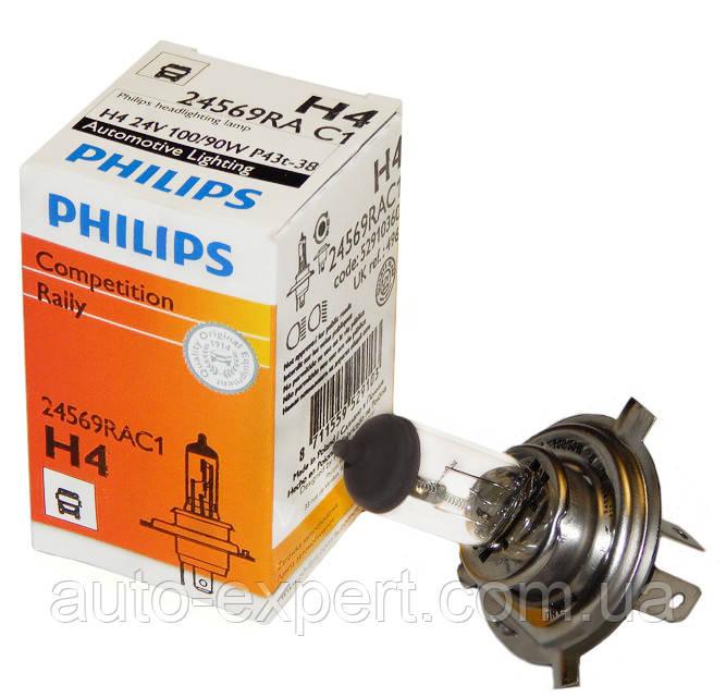"""Автомобильная галогенная лампа """"PHILIPS"""" (H4)(RALLY)(24V)(100/90W)"""
