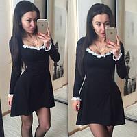 """Стильное черное трикотажное платье """" Астра """" с белым кружевом. Арт-8764/74"""