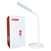Настольная LED лампа Maxus 6W сенсорная, диммер яркости+встроенный аккумулятор (белая)