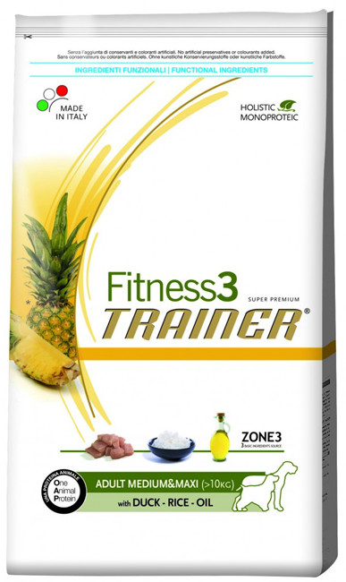 Корм для собак Trainer Fitness3 Adult Medium & Maxi Duck, Rice & Oil