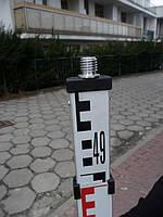 Рейка телескопическая нивелирная 5м, с внешней резьбой под антенну GPS или отражатель
