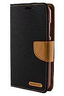 Чехол книжка для Lenovo Vibe C A2020 Goospery Canvas черный / коричневый