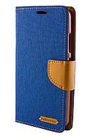 Чехол книжка для Lenovo A2020 Goospery Canvas синий / коричневый