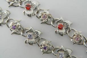 Браслеты серебряные с камнями, вставками и надписями