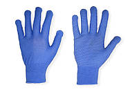 Рабочие перчатки нейлоновые тонкие  голубые с точками