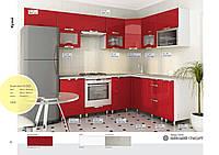 Кухня на заказ красная вариант угловой 2800х1600 мм