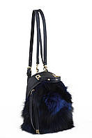 Сумка-рюкзак, синяя, с мехом
