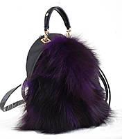 Сумка-рюкзак, фиолетовая, с мехом