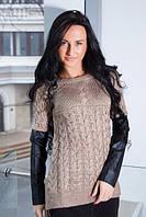 Женский вязаный свитер с кожаными рукавами