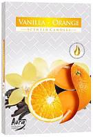 Свеча чайная ароматизированная Bispol Ваниль-апельсин 1.5 см 6 шт (p15-37)