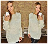 Стильный женский свитер-туника с люрексом